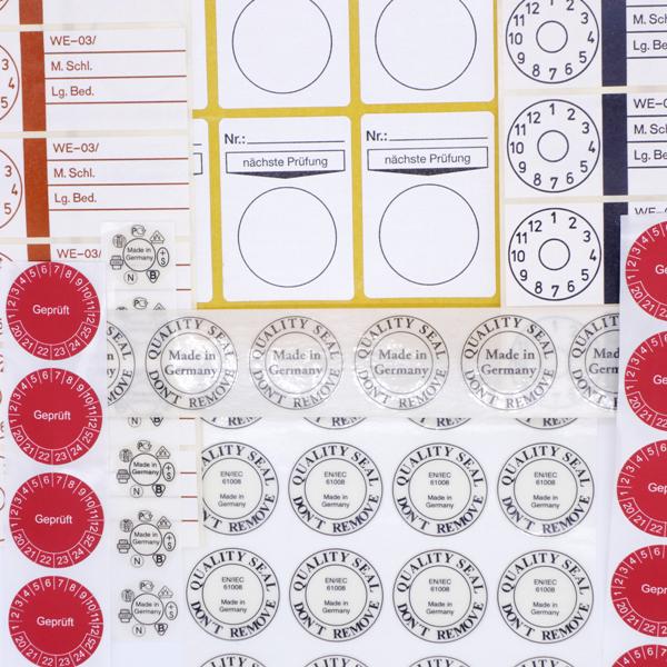 Runde Prüfetiketten von Schlegel Etiketten mit verschiedenen Beschriftungen