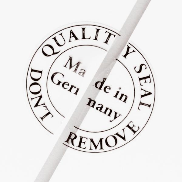 """Sicherheitskennzeichnung von Schlegel Etiketten mit der Aufschrift """"Made in Germany"""""""