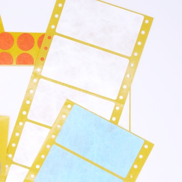 Zwei rechteckige EDV-Etiketten-Produkte von Schlegel Etiketten auf Bogen liegen übereinander