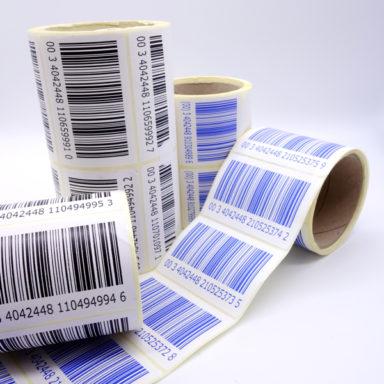 Thermotransfergedruckte Barcodeetiketten-Produkte von Schlegel Etiketten auf Rollen