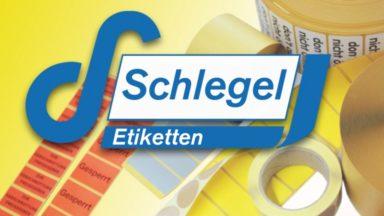 Das Logo von Schlegel Etiketten mit mehreren Etikettenpaletten