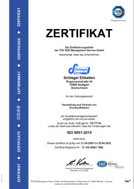 TÜV ISO9001 Schlegel Etiketten