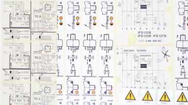 Hinweisetiketten als Warnhinweise und Montageanleitungen